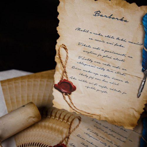Pergameny na stužkovú pre celú triedu s vytlačenými básničkami.
