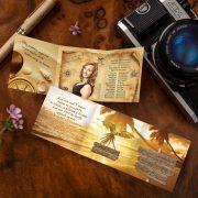 Zlaté oznamko s grafikou z dôb pirátov