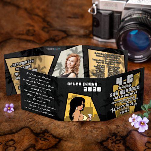 Maturitné oznamko s grafikou z počítačovej hry GTA