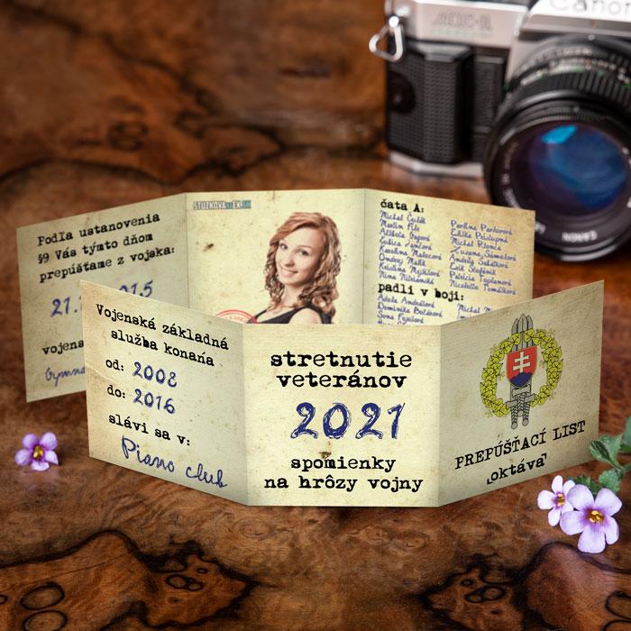 Maturitné oznamko s grafikou prepúšťacej knižky z vojny. 3D prevedenie s fotkou zapracovanou v grafike.