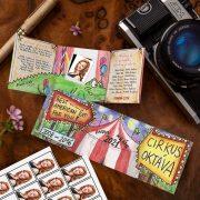 Farebné cirkusové oznamko s ukážkou nalepenej klasickej maturitnej fotky.